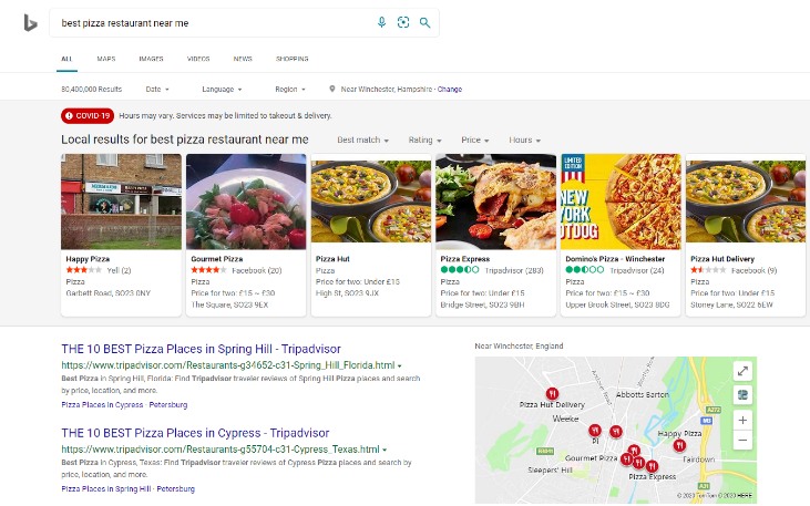 """Best Pizza"" Bing Search Engine Search"